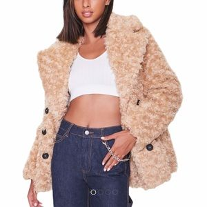 NWT Forever 21 Boucle Faux Fur Buttoned Coat